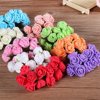 12pcs/lot Multicolor PE Rose Foam Small artificial flowers Bouquet wedding decorative wreaths Scrapbooking Artificial Rose