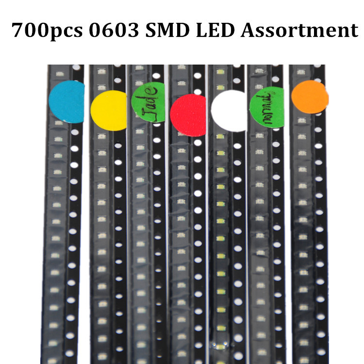 700pcs 0603 SMD LED Assortment Red/Green/Blue/Yellow/White/Emerald-green/Orange 100pcs each SMD LED 0603 Diodes Pack(China (Mainland))