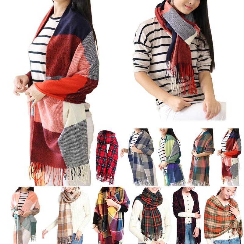 2016 Women Fashion Winter Warm Plaid Scarf Ladies Artificial Long Wrap Shawl font b Tartan b