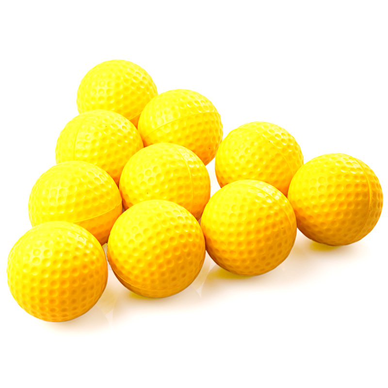 10pcs/pack Yellow Soft Elastic Practice Golf Balls Indoor Practice PU Golf Balls Training Aid Suitable For Children(China (Mainland))