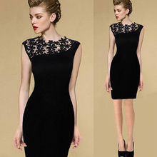 Buy Summer Women's Black Sexy Stretch Evening Party Lace Slim Bodycon Pencil Dresses Vestidos Crochet Dress for $4.43 in AliExpress store