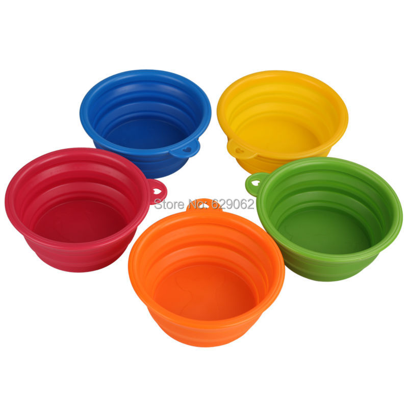 3pcs/lot Small Medium Pet Dog Travel Bowls Silicone Folding Food Water Bowl for Dogs Cats(China (Mainland))