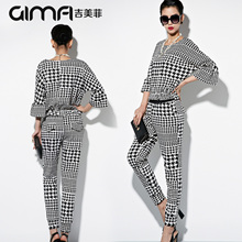 Free shipping New 2016 spring women's fashion small houndstooth fashion twinset casual set summer dress clothing set (China (Mainland))