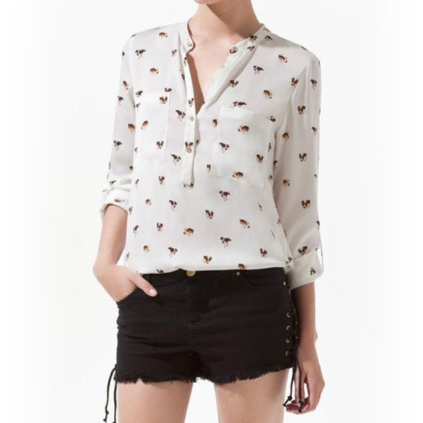 Women shirt Women Collarless Dog Print OL Career Shirt Pocket Long Sleeve V-neck Blouse Tops(China (Mainland))