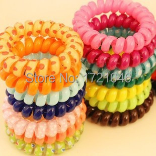 Summer Hot selling Fashion candy colors Telephone line hair ring High quality Hair rope Headdress Elastic Hair Bands TS012N(China (Mainland))