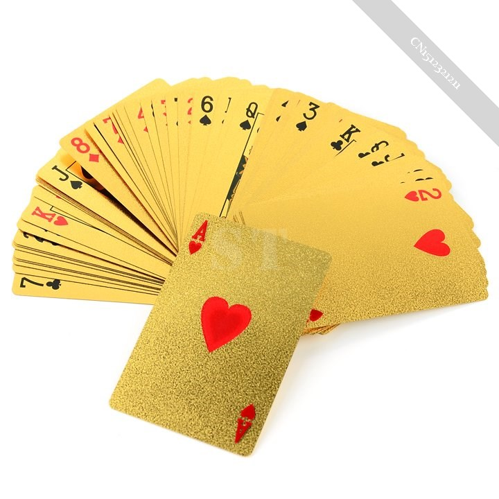 ideal New 24K Karat Gold Foil Plated EUR Poker Playing Card With Box(China (Mainland))