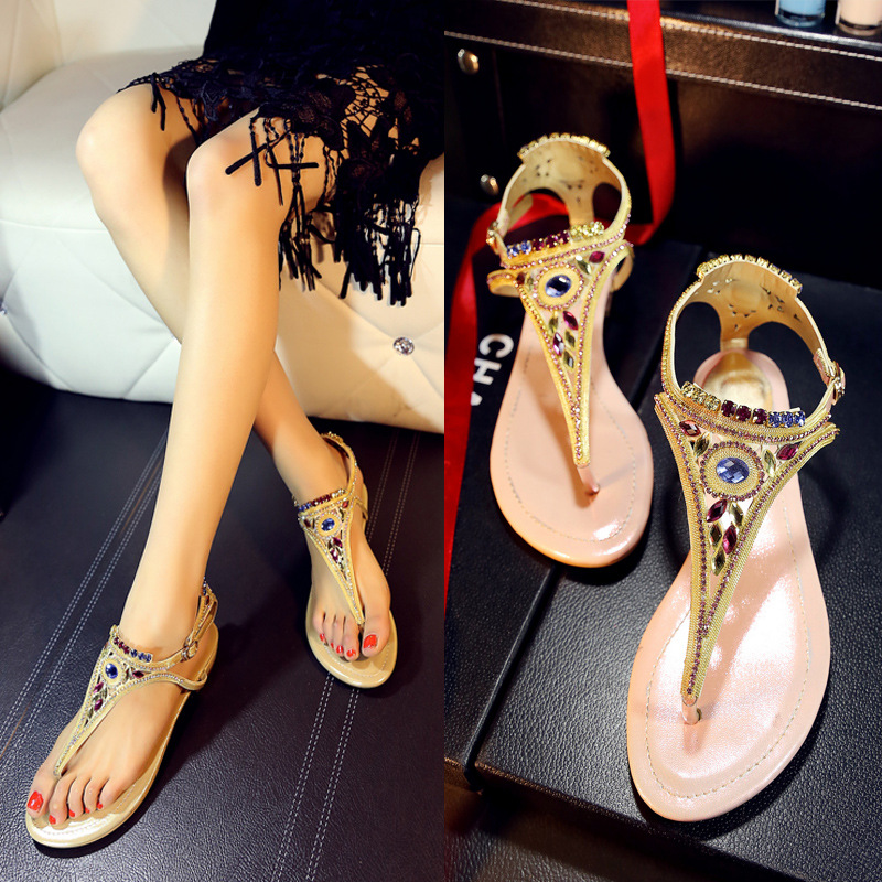 2016 Summer Style New Diamond Wedges Slippers Real Leather Low Heel Open Toe Sandals And High Quality Luxury Shoes For Women<br><br>Aliexpress