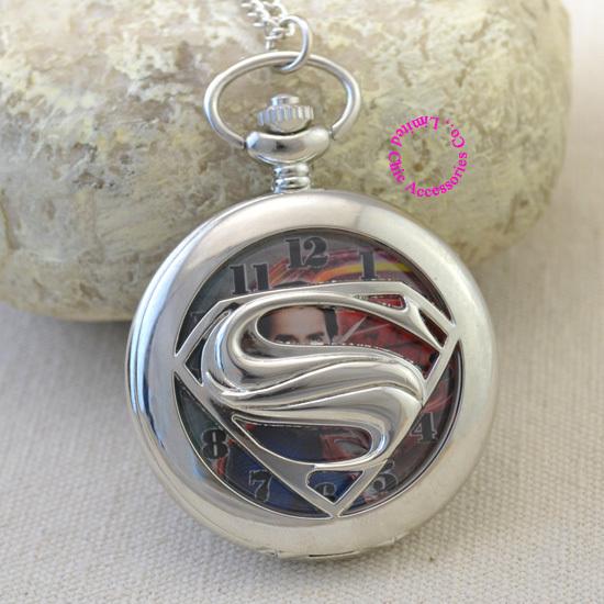 Здесь можно купить  wholesale fashion cool superman silver color quartz pocket watch necklace woman hour fob watches clock arabic number super man  Ювелирные изделия и часы