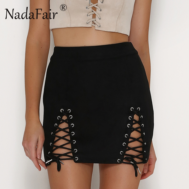 Nadafair Lace-Up Solid A-Line Suede Mini Skirts 2017 New Casual Sexy Casual Bodycon Party Women Skirts