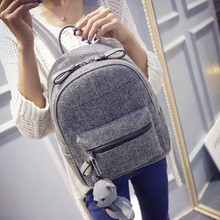 2016 Winter Women/Girls Fashion Leather Backpack Plush Teddy Bear Backpack/School bag famous brand leisure small backpack bag(China (Mainland))