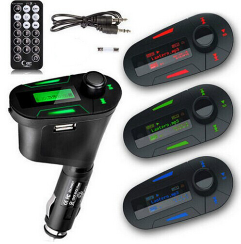 EDFY New Green Car Kit Music Player Wireless FM Transmitter + USB Cable + Remote Control hot selling(China (Mainland))