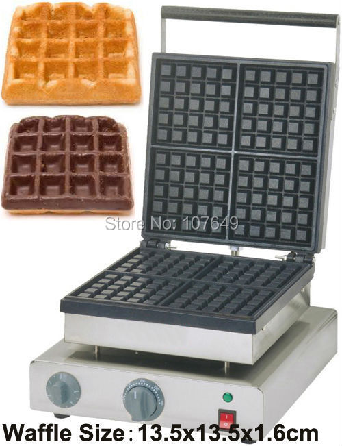 Hot Sale 110v 220V Commercial Use Non-stick Electric 4-Slice 13.5cm Classic Square Waffle Maker Iron Machine Baker<br><br>Aliexpress