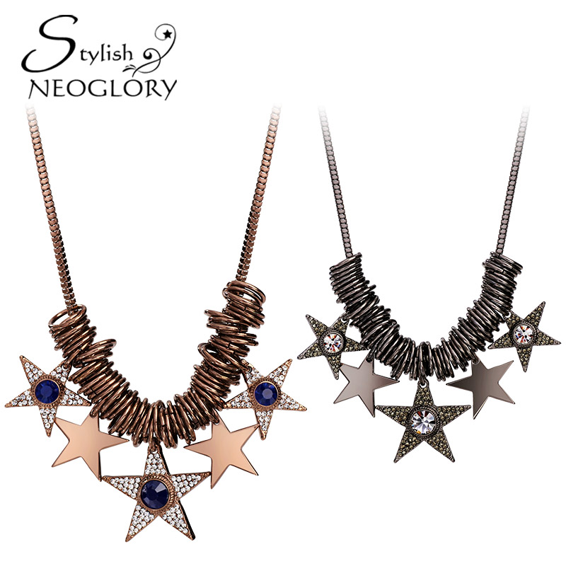 Neoglory Stylish Czech Rhinestone Antique Gold & Black Gun Plated Pendant Vogue Girl Necklace Vintage Star Jewelry For Women S1(China (Mainland))