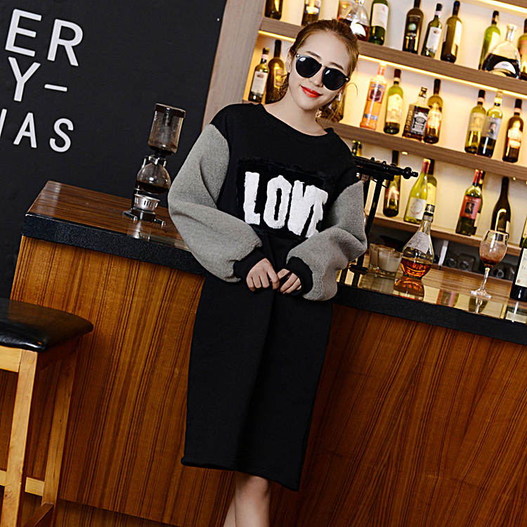 2016 Spirng Autumn Casual Thick Velvet Middle Long Sweatshirts Women Hoodies Letter Print Plus Size Pullover Women's Clothing(China (Mainland))