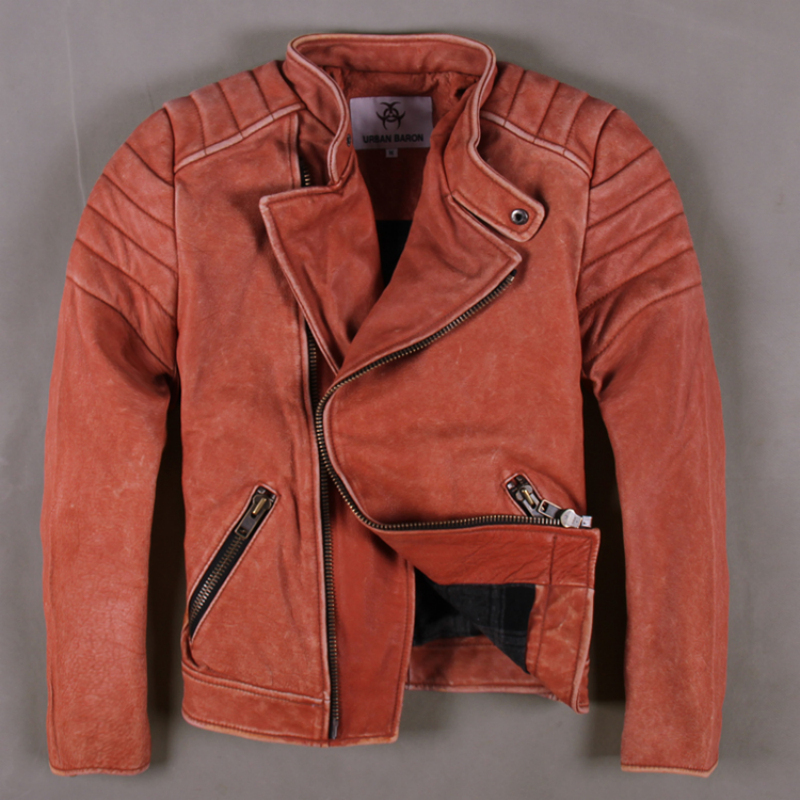 Leather clothing male cowhide vintage red & pink genuine cow leather clothing short design motorcycle rider jacket(China (Mainland))