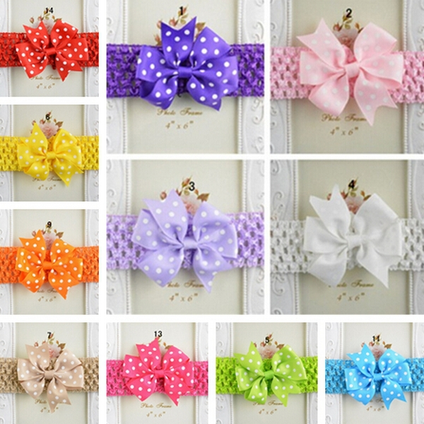 Available Colors Summer Style 15 Color Soft Baby Headband Bow Round Dot Printing Headbands Elastic Children Accessories 1pcs/lot(China (Mainland))