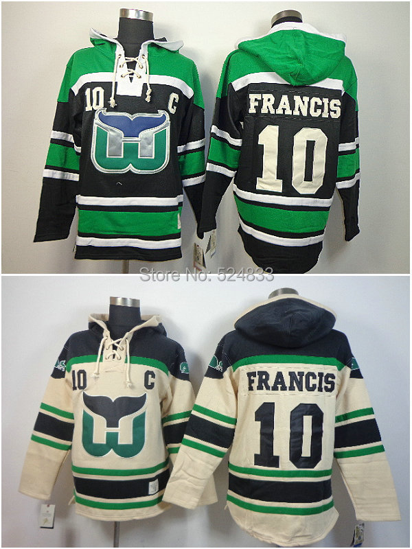 free shipping mens Hartford Whalers 10 Ron Francis Green C logo Patch Hockey Hoodies Jersey Ice Winter sport Sweaters Hoodie