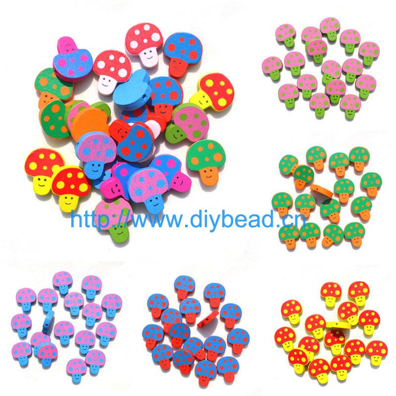 20pcs DIY Jewelry Children Handcraft Department bracelet accessories Cartoon Wooden beads Mushroom Head mix color