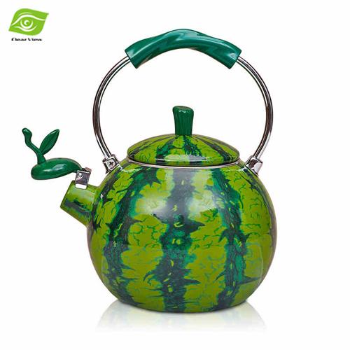 Best Enamel Watermelon Kettle 2.0L Porcelain Enamel Teapot Kettle Whistle Kettle Enamelware Drop Shipping(China (Mainland))