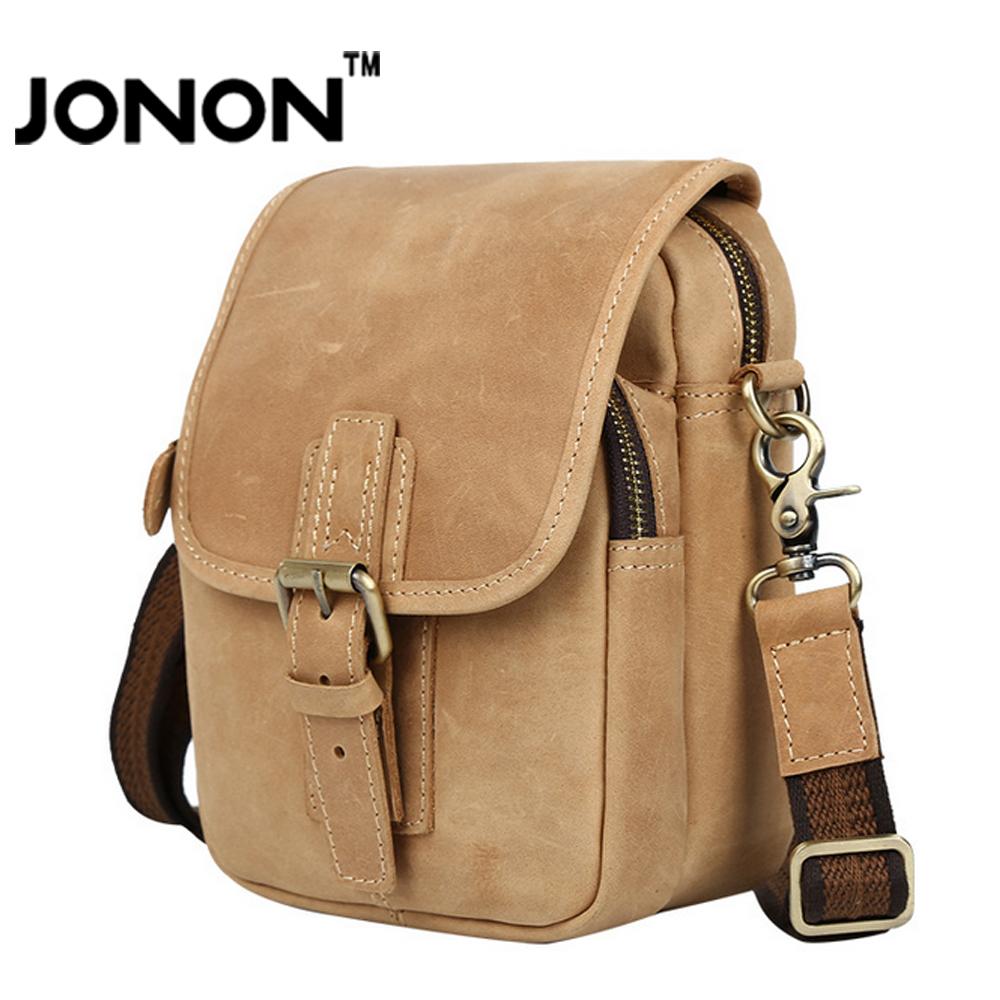 JONON Men Messenger Bags Genuine Leather Bag High Quality Strap Zipper CrossBody Bag For Male Vintage Shoulder Bags Casual MB047(China (Mainland))