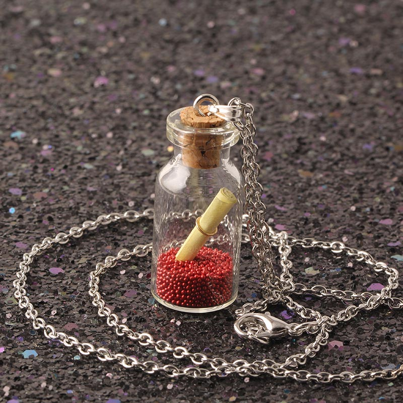 2017 Silver Chain Cute Glass Wishing Bottle Pendant Necklaces Special Gift For Women Long Necklace Love Letter Color Sand NS2197(China (Mainland))