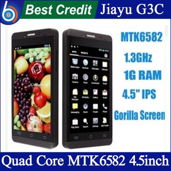 "IN Stock Jiayu G3C g3st  MTK6582 quad Core Android 4.2 4.5"" IPS gorilla glass dual SIM black silver JY mobile phone/Eva"