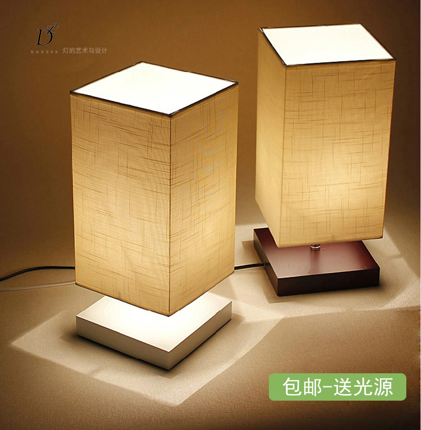 Modern Brief Table Lamps For Bedroom Bedside Table Lights Wood Fabric Dimmable Bedroom Lamp