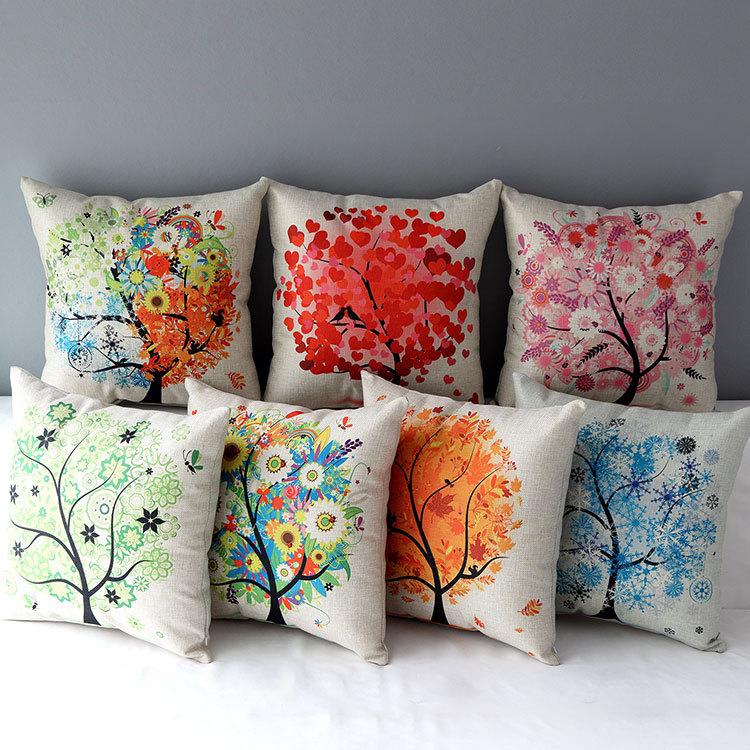 "18"" Pastoral Life Tree Cotton Linen Cushion Cover Ikea Sofa Decorative Throw Pillow Home Chair Car almofadas/fronhas UQ330(China (Mainland))"
