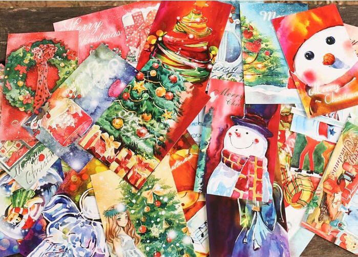 Гаджет  Christmas Rhapsody theme paragraph Packed postcards Greeting Cards creative postcards drawer card 30 pcs/set Free Shipping LE992 None Офисные и Школьные принадлежности