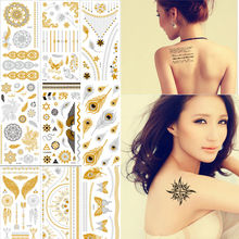 8 Sheets Tattoo Stickers Body Art Temporary Flash Waterproof Painting Glitter Metal Golden King Crown Lotus Flower Rose Tattoos(China (Mainland))