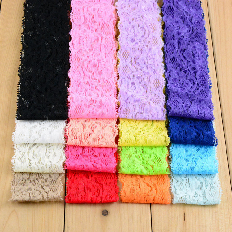 """New Arrivel 2"""" wide elastic lace headband Baby Girls DIY hair band accessories 14color for choose 20pcs/lot free shipping(China (Mainland))"""