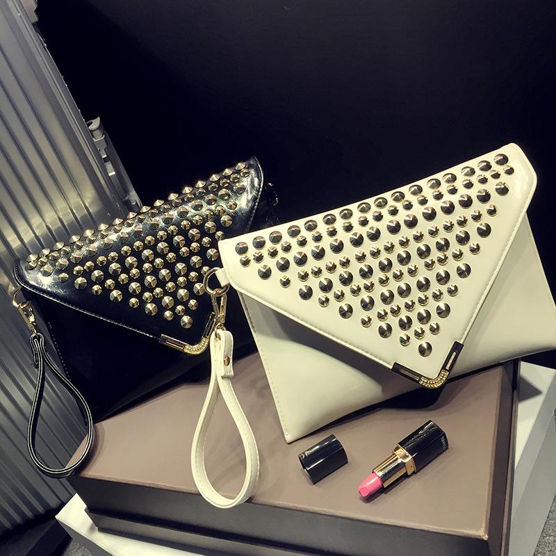 Bag Ladies 2015 European fashion lady bag envelopes Rivet metal female handbags of famous brands Cute Novelty(China (Mainland))