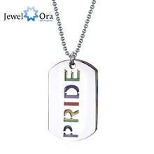 Unique Gift Trendy Stainless Steal Gay Lesbian Rainbow Letter Pendant Colorful Hollow Men Pendant & Necklace (JewelOra NE101364)(China (Mainland))