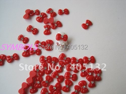 rbr-18-7 Wholesale 200pcs/bag Red Cute Rhinestone Bowknot Nail Art Decoration Cellphone Decoration Bow Decoration