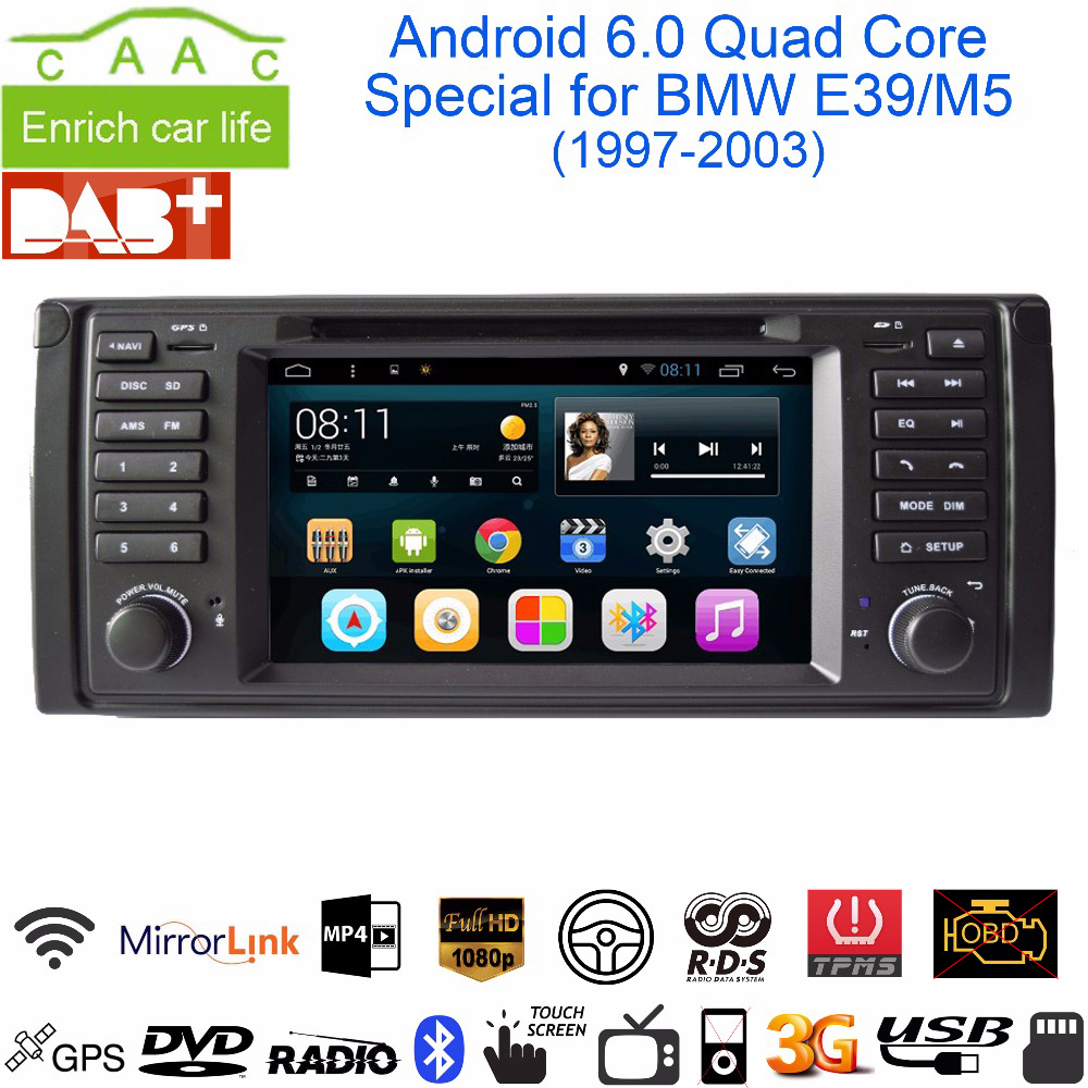 """Android 6.0.1 Quad Core GPS Navigation 7"""" Car DVD Player for BMW E39 5 Series/M5 1997-2003 with BT/RDS/Radio/SWC/USB/SD/3G/WIFI(China (Mainland))"""