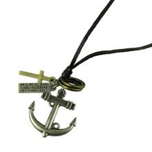 Delicate 2014 Fashion Jewelry Necklace Cow Leather Men Necklace Punk Retro Cross Anchor Pendants Necklace Long