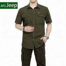 Plus Size XXXXXL Summer Men's 100% Cotton Shirts Solid Color Dress Short Sleeve Shirts Casual Outdoor Man Brand AFS JEEP 5003(China (Mainland))
