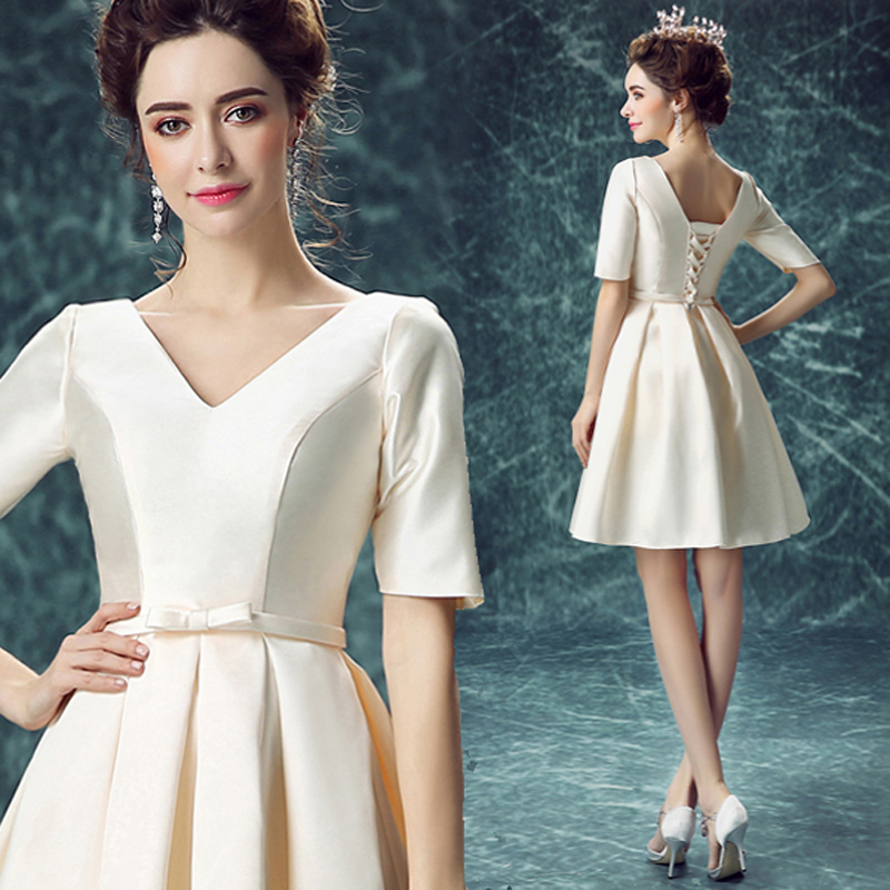 short party dress Champagne color half sleeves v neck taffeta sashes prom dress plus size A line knee length dress 10079,ty1256(China (Mainland))