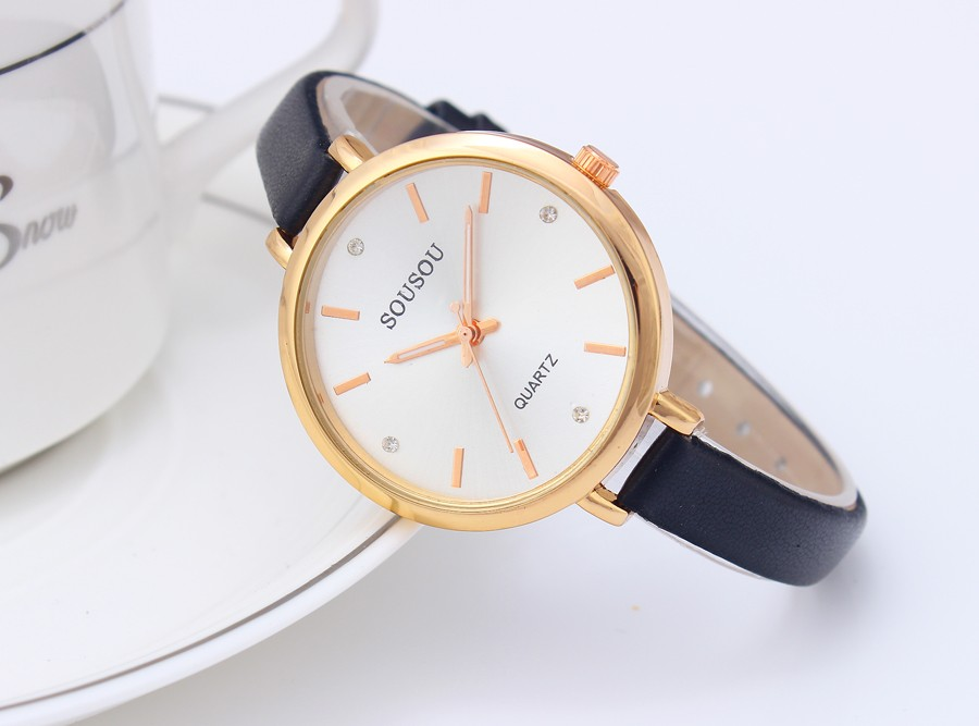 relojes mujer 2016 Luxury Brand Quartz Watch Women Dress Watches Gold big Dila Leather Watches Ladies Fashion Clock Hour