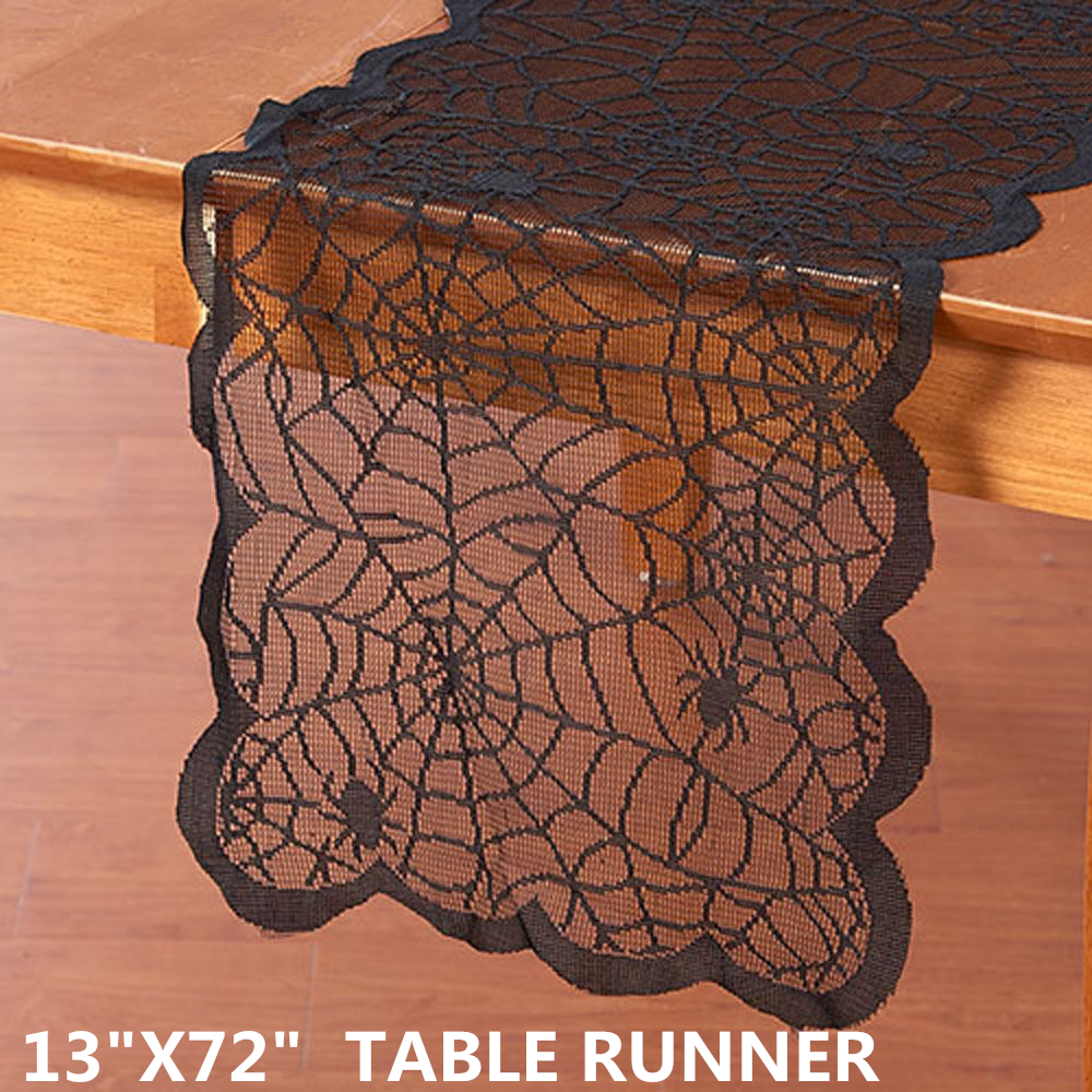 Free shipping halloween lace table runners 13x72inch 33x183cm midnight table runner black spider web table runner mantle scarf(China (Mainland))