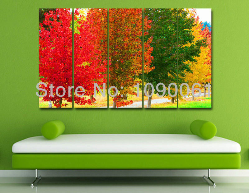 Handpainted modern abstract four season wall painting for 4 season decoration