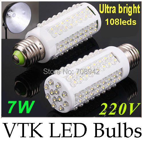 ultra bright led bulb 7w e27 220v cold white/ warm white, e27 led corn bulb lamp with 108 led 360 degree Free Shipping<br><br>Aliexpress