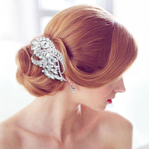 Showy Ribbon Hair Accessories Tear Drop Rhinestone Crystal Clear Flower Hair Comb Tiara For Wedding Bridal Hair Jewelry XLL184(China (Mainland))