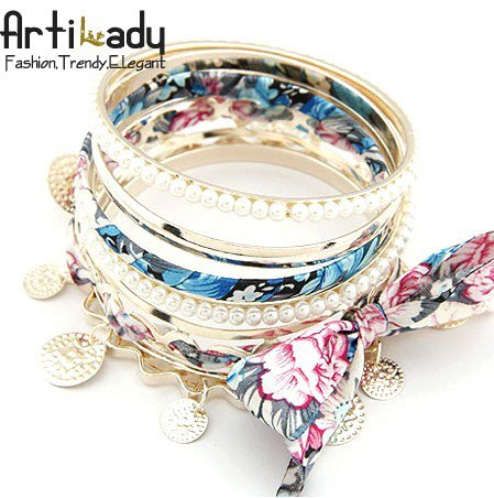 Artilady 5pcs set Hawaii sea beach jewelry bangle with simulated pearl fashion gold bangle female bangle