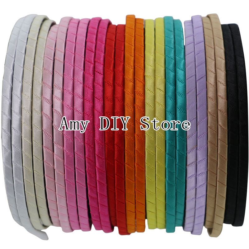 Free Shipping 60pcs/lot 5 mm Colored Ribbon Covered Metal Hard Hairbands,Baby Girls Boutique Headbands,Infant Hair Accessories