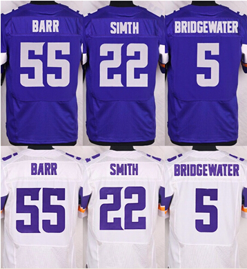 Free shipping Elite #5 Teddy Bridgewater #22 Harrison Smith #28 Adrian Peterson #55 Anthony Barr Authentic Football Jersey(China (Mainland))