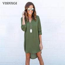Buy VISNXGI Summer New Dresses 2017 Fashion Women Casual Loose Plus Size Elegant Dress Long Sleeve Irregular Chiffon Dress Vestidos for $5.86 in AliExpress store