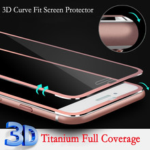 New Luxury Clear Front Titanium 3D Curve Fit Full Coverage Screen Protector Tempered Glass for iPhone 6 Plus 5.5""