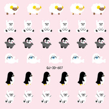 2015 Hot Sale Watch Decals Nail Fashion Real Beauty Manicure Sticker Stick 3 D Cartoon Animal Sheep Penguin Duck 24 Qj 600-623(China (Mainland))