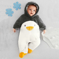 New 2016 autumn winter baby rompers newborns baby boy clothes baby cartoon penguin animal thick cotton